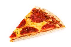 Hot italian pepperoni pizza slice isolated stock photography