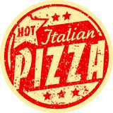 Hot italian pizza grunge vector design in yellow and red colors. Royalty Free Stock Photography