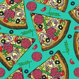 Hot Italian pizza slice with salami, rucola, tomatoes, onion, olives and cheese, hand drawn doodle, sketch in pop art style vector illustration