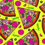 Hot Italian pizza slice with salami, rucola, tomatoes, onion, olives and cheese, hand drawn doodle, sketch in pop art style royalty free illustration