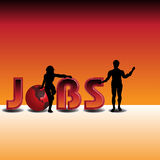 Hot jobs. Colorful background with male and female silhouettes standing near the word jobs written with capital letters. Hot jobs concept Stock Photography