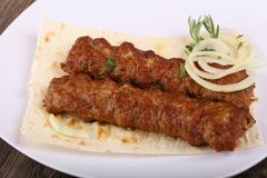 Kebab. Hot juicy grilled kebab with onion and parsley royalty free stock image