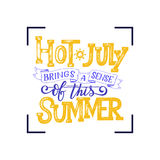 Hot july summer banner. Typography poster with sun and lettering. Sunny design for beach party, summer lettering about Royalty Free Stock Photo