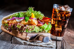 Hot kebab with cold drink Royalty Free Stock Image