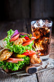 Hot kebab with vegetables and chicken Stock Photos