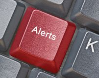 Hot key for alerts. Keyboard with hot key for alerts royalty free stock photos