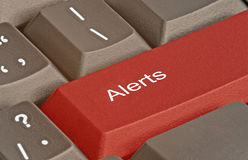 Hot key for alerts. Keyboard with hot key for alerts stock photos