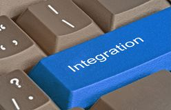 Hot key for integration. Keyboard with key for integration Royalty Free Stock Image