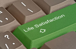 Hot key for life satisfaction. Keyboard with hot key for life satisfaction Royalty Free Stock Photos
