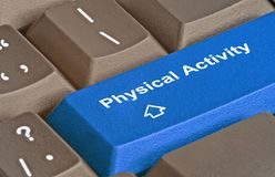 ,hot key for physical activity. Keyboard with hot key for physical activity Stock Photo