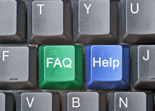Hot keys for FAQ and help. Close up of hot keys for FAQ and help Stock Photography