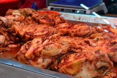 Hot kimchi in Yanji market, Korean minority region, Yanbian, Jilin, China stock images