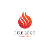 Hot kitchen logotype template. Wavy white line on red round shape. Fire, flames, burning vector logo. Isolated red. Abstract firefighter logotype on white Stock Photos