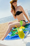 Hot lady with cold drink Stock Images