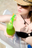 Hot lady with cold drink Royalty Free Stock Images
