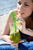 Hot lady with cold drink Royalty Free Stock Photo