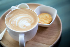 Hot latte art coffee Stock Image
