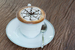 Hot latte coffee in cup Stock Photography