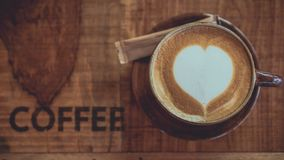 Hot Latte Coffee With Heart Shape royalty free stock images