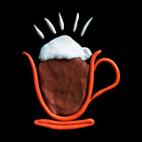 Hot latte coffee isolated black Royalty Free Stock Photos