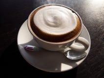 Hot latte with foam milk Stock Photo