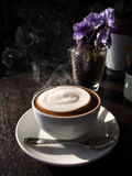 Hot latte with foam milk Royalty Free Stock Photography
