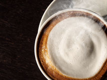 Hot latte with foam milk Royalty Free Stock Photo