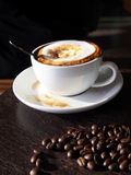 Hot latte with foam milk Stock Images