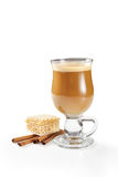 Hot latte in glass Royalty Free Stock Photo