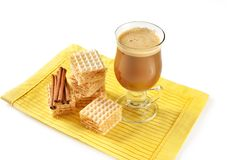 Hot latte in glass Stock Photo
