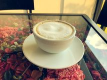 Hot Latte. In White Cup royalty free stock photos