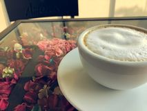 Hot Latte. In White Cup royalty free stock image