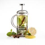 Hot lemon-apple tea stock photos