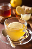 Hot lemon ginger honey tea in glass cup Stock Photos
