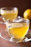 Hot lemon ginger tea in glass cup Royalty Free Stock Photography