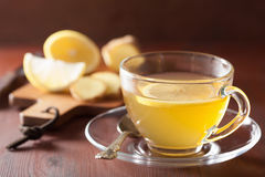 Hot lemon ginger tea in glass cup Royalty Free Stock Images