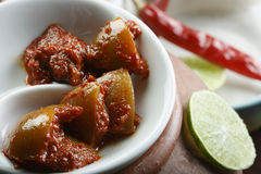 Hot Lemon Pickle - A popular spicy Indian Pickle Royalty Free Stock Photos