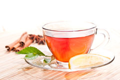 Hot lemon tea in a glass cup close up Royalty Free Stock Photos