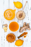 Hot lemon water with ginger, cayenne, turmeric and honey. Detox drink Royalty Free Stock Images