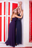 Hot lesbians couple in vintage interior Royalty Free Stock Images