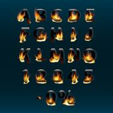 Hot letters and numbers on fire. Alphabet.Fire burning vector font. Part 1.  stock illustration