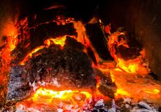 Hot coals. Hot and lighted coals Royalty Free Stock Photography