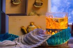 Hot linden tea is the best in winter Stock Image