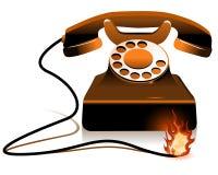 Hot Line - Burning Telephone Stock Photo