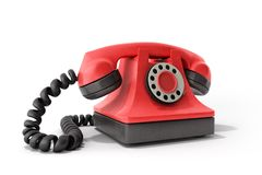 Hot line concept Red vintage telephone taking a call ideal for c. Ontact page 3d render vector illustration