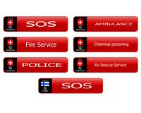 Hot line number buttons. Web buttons rooms hotlines Switzerland Finland Stock Photo