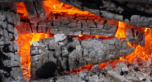 Hot live charcoal glowing inside closeup Royalty Free Stock Image