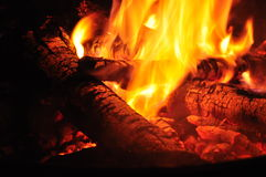 Hot Logs In A Fire Royalty Free Stock Images