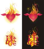 Hot love. (for place on black and white background Royalty Free Stock Photography
