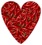 Hot Love. A heart full of chillies Royalty Free Stock Photos